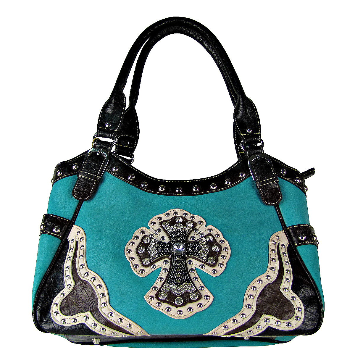 TURQUOISE WESTERN RHINESTONE CROSS LOOK SHOULDER HANDBAG HB1-HC0087TRQ
