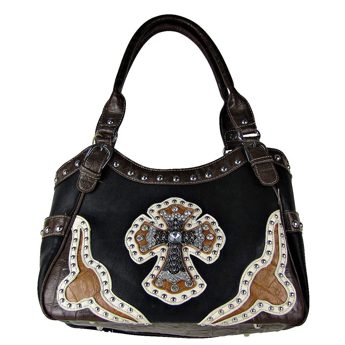 BLACK WESTERN RHINESTONE CROSS LOOK SHOULDER HANDBAG HB1-HC0087BLK