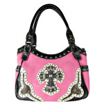HOT PINK WESTERN RHINESTONE CROSS LOOK SHOULDER HANDBAG HB1-HC0087HPK