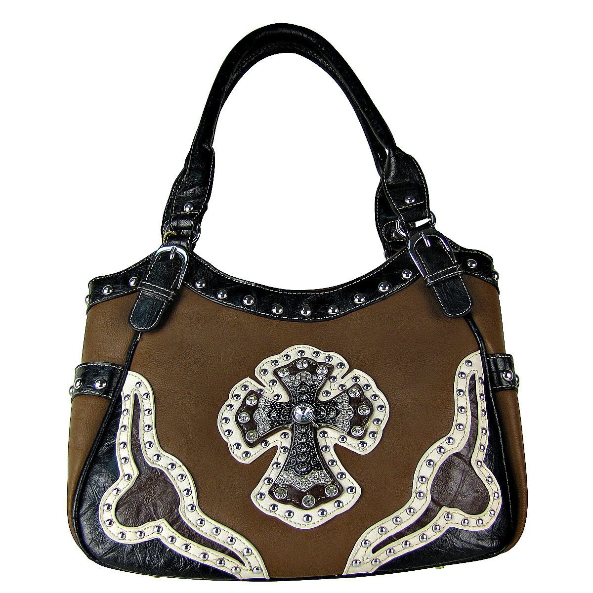 BROWN WESTERN RHINESTONE CROSS LOOK SHOULDER HANDBAG HB1-HC0087BRN