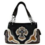 BLACK WESTERN RHINESTONE CROSS LOOK SHOULDER HANDBAG HB1-HC0076BLK