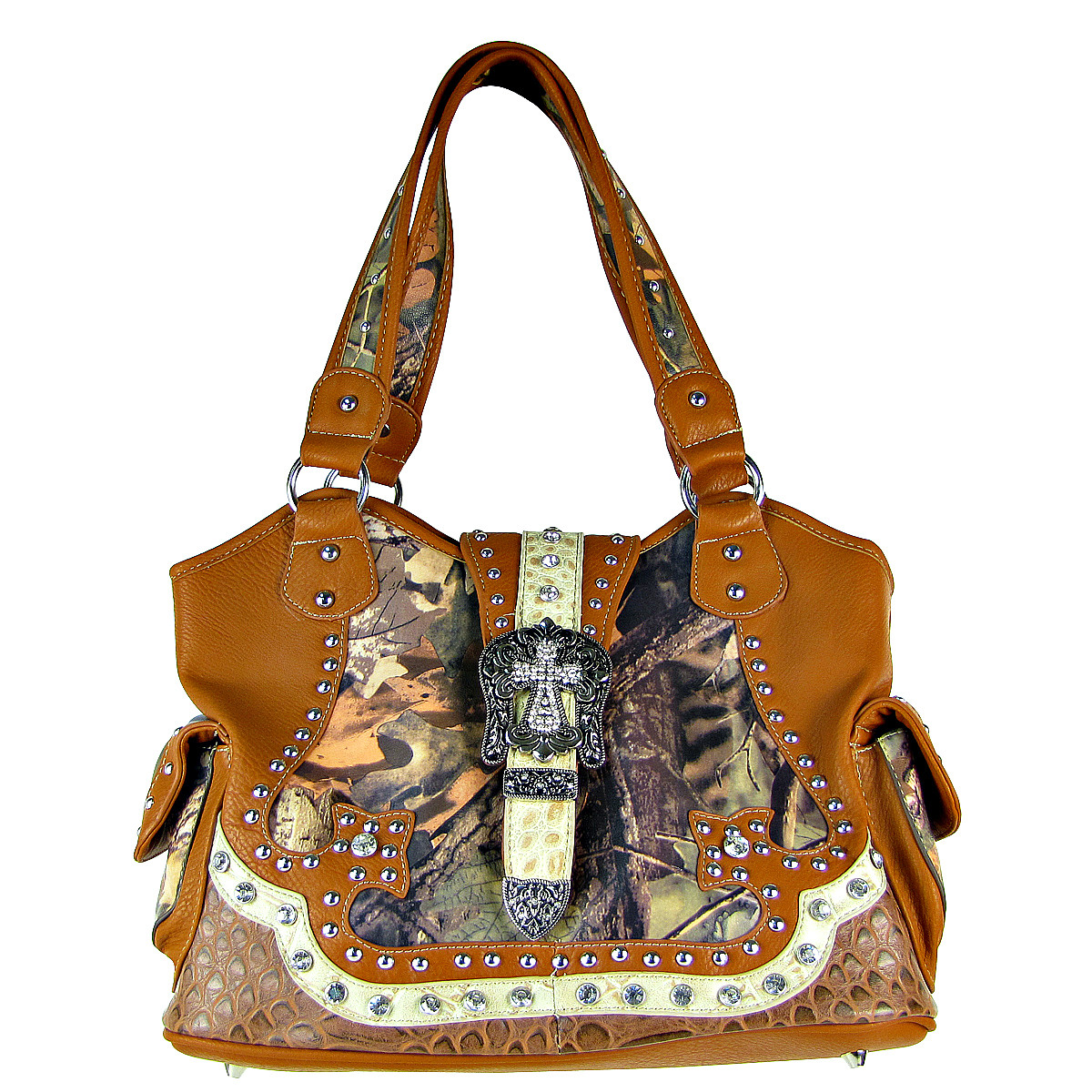 BROWN WESTERN MOSSY CAMO STUDDED RHINESTONE BUCKLE LOOK SHOULDER HANDBAG HB1-12156-1BRN