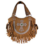 BROWN RUFFLE RHINESTONE CROSS LOOK SHOULDER HANDBAG HB1-HC0072BRN