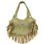 BEIGE RUFFLE RHINESTONE CROSS LOOK SHOULDER HANDBAG HB1-HC0072BEI