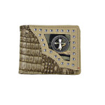 BEIGE CROCODILE STUDDED MOSSY CAMO CROSS MENS WALLET MW1-0422BEI