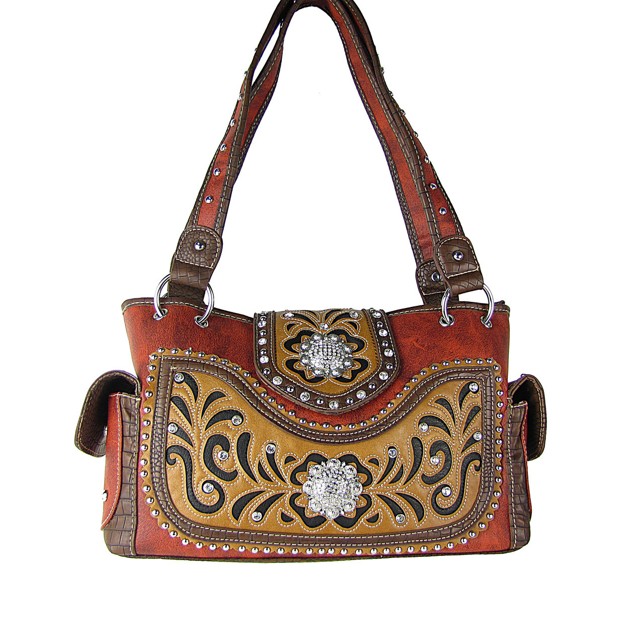 RED WESTERN STUDDED FLOWER RHINESTONE LOOK SHOULDER HANDBAG HB1-CHF0042RED