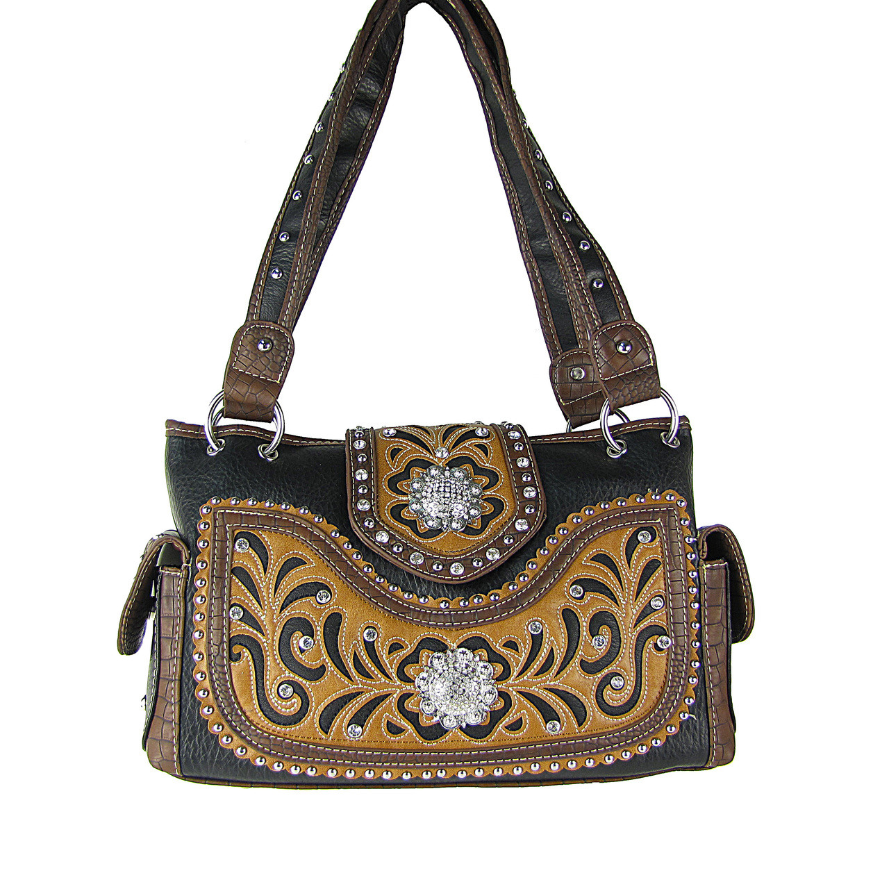 BLACK WESTERN STUDDED FLOWER RHINESTONE LOOK SHOULDER HANDBAG HB1-CHF0042BLK
