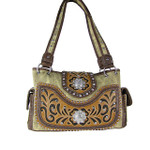 TAN WESTERN STUDDED FLOWER RHINESTONE LOOK SHOULDER HANDBAG HB1-CHF0042TAN