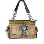 BROWN WESTERN STUDDED RHINESTONE CROSS LOOK SHOULDER HANDBAG HB1-CHF0047BRN