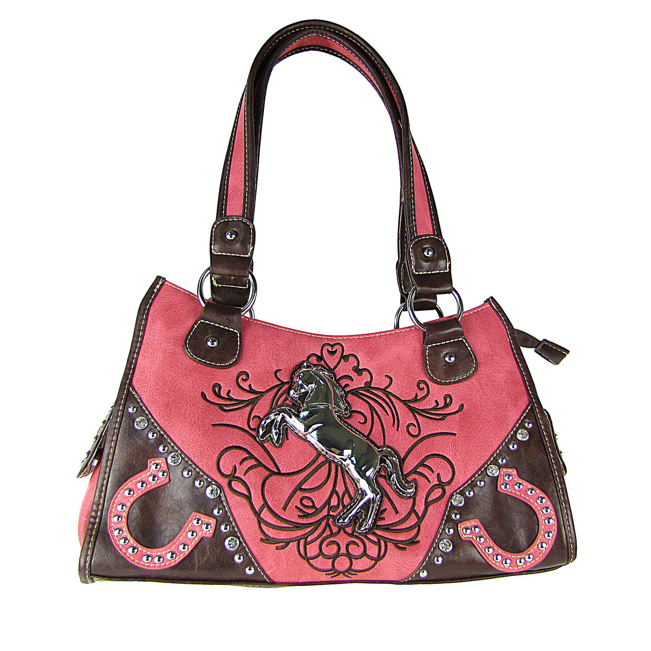 HOT PINK WESTERN STUDDED RHINESTONE HORSE LOOK SHOULDER HANDBAG HB1-CHF0097HPK