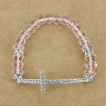 PINK CRYSTAL RHINESTONE CROSS STRETCH LOOK BRACELET BR1-0414PNK