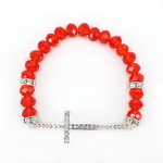 RED CRYSTAL RHINESTONE CROSS STRETCH LOOK BRACELET BR1-0414RED