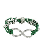 GREEN SILVER INFINITY LEATHERETTE BAND LOOK BRACELET BR1-0123GRN
