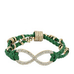 GREEN GOLD INFINITY LEATHERETTE BAND LOOK BRACELET BR1-0122GRN