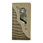 BEIGE CROCODILE STUDDED MOSSY CAMO CROSS MENS CHECKBOOK WALLET MW2-0455BEI