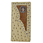 BEIGE OSTRICH STUDDED TOOLING CROSS MENS CHECKBOOK WALLET MW2-0456BEI