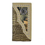 BEIGE CROCODILE STUDDED MOSSY CAMO CROSS MENS CHECKBOOK WALLET MW2-0460BEI