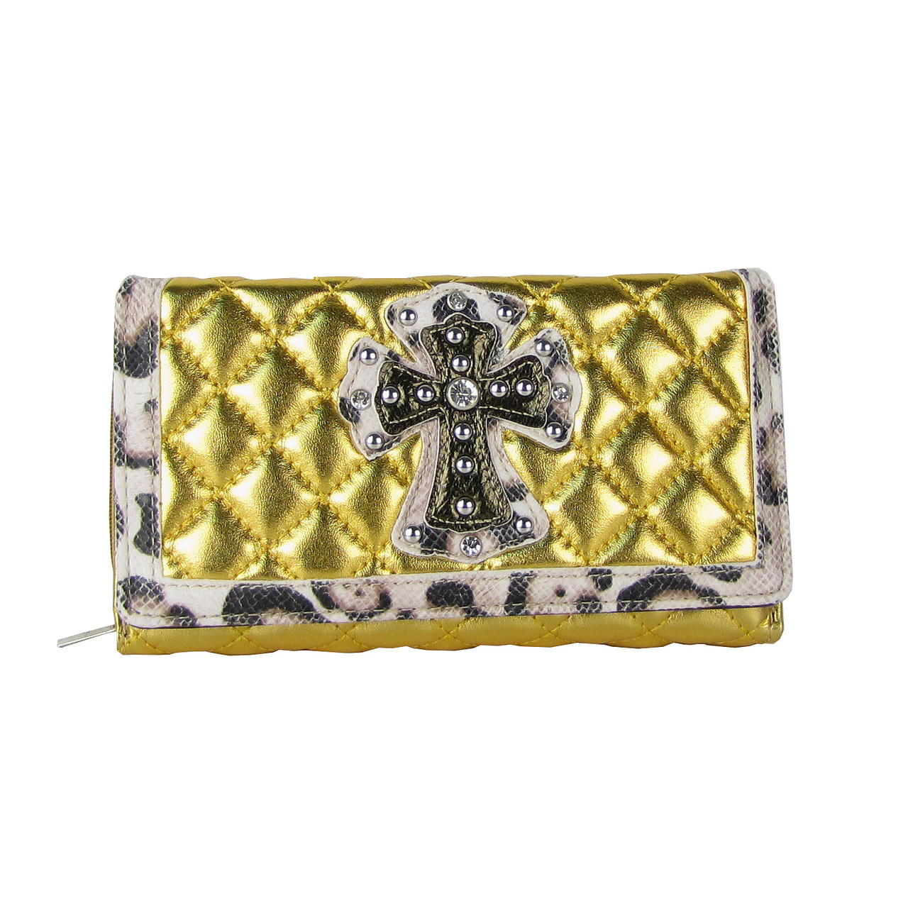 GOLD RHINESTONE CROSS LEAPORD PATTERN SHINY METALLIC LEATHERETTE LOOK CHECKBOOK WALLET CB1-0425GLD
