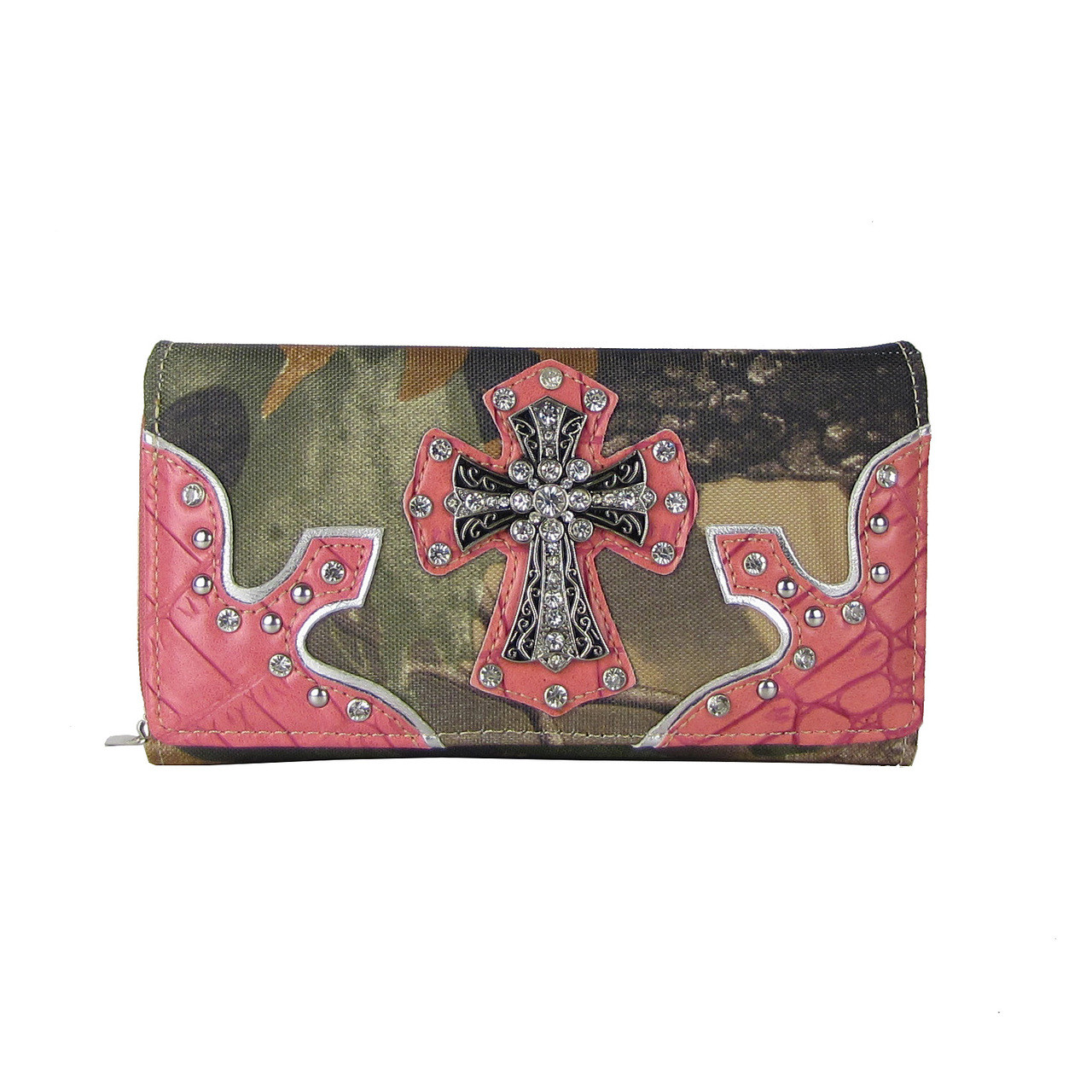 PINK WESTERN STUDDED MOSSY CAMO CROSS LOOK CHECKBOOK WALLET CB1-0415PNK