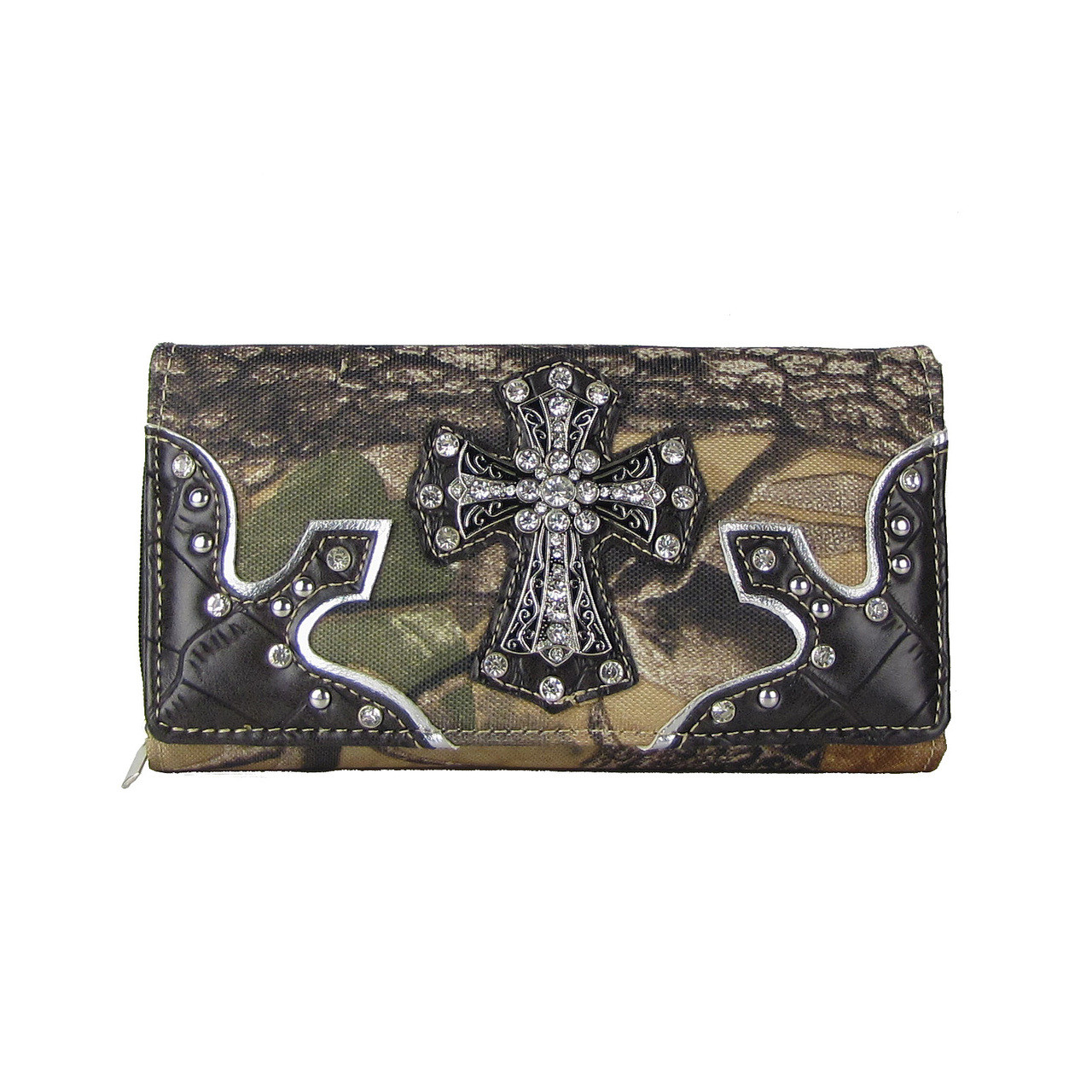 BROWN WESTERN STUDDED MOSSY CAMO CROSS LOOK CHECKBOOK WALLET CB1-0415BRN