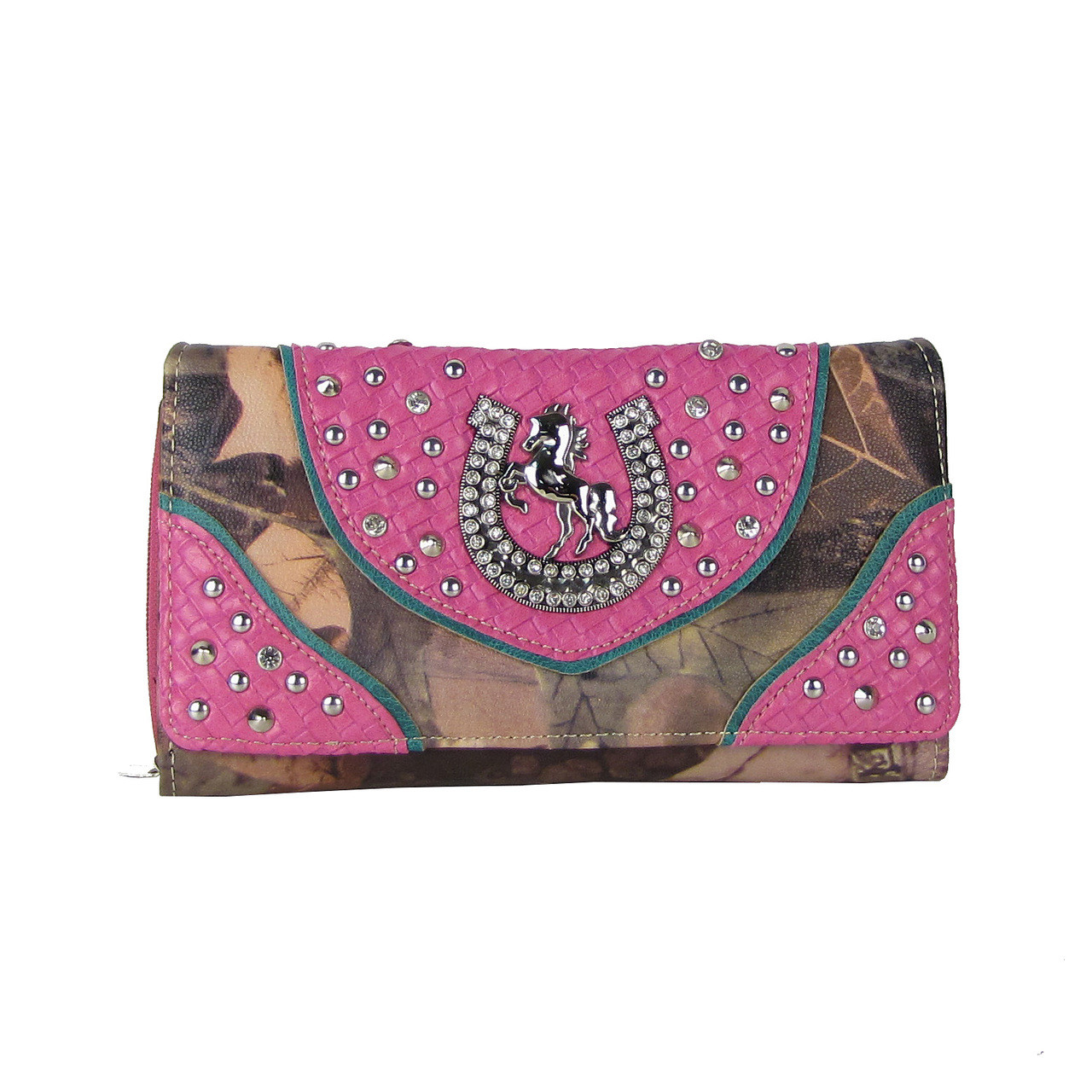 PINK WESTERN STUDDED MOSSY CAMO HORSESHOE LOOK CHECKBOOK WALLET CB1-0426PNK