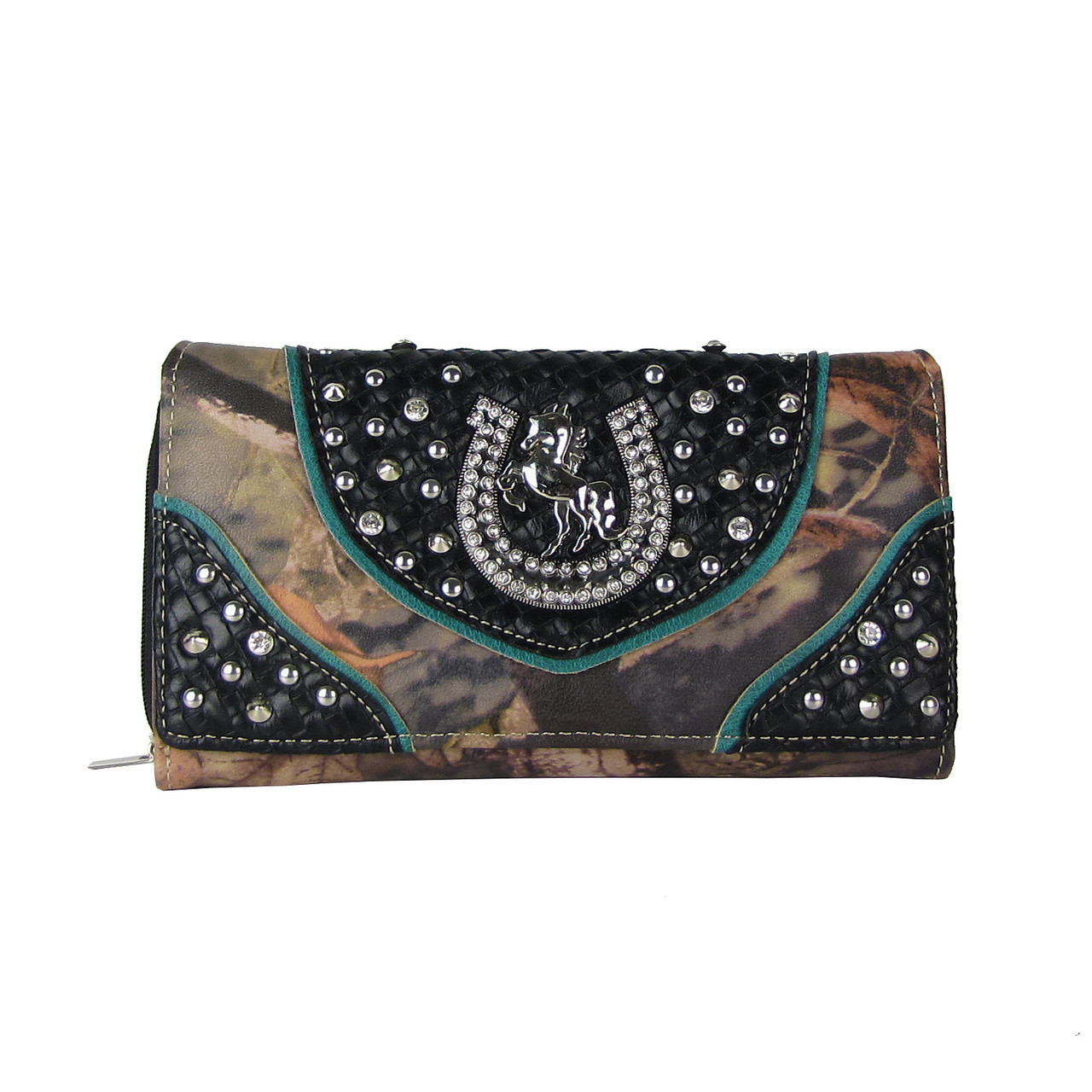 BLACK WESTERN STUDDED MOSSY CAMO HORSESHOE LOOK CHECKBOOK WALLET CB1-0426BLK