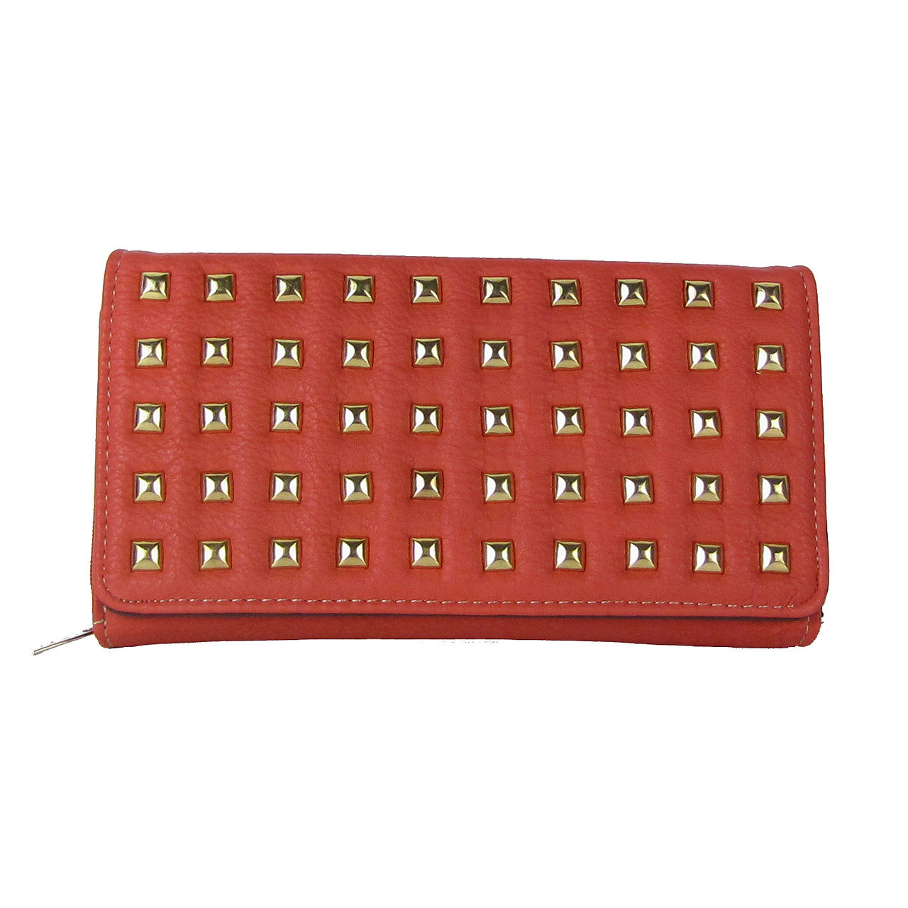 PINK STUDDED LEATHERETTE LOOK CHECKBOOK WALLET CB1-1209PNK