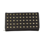 BROWN STUDDED LEATHERETTE LOOK CHECKBOOK WALLET CB1-1209BRN