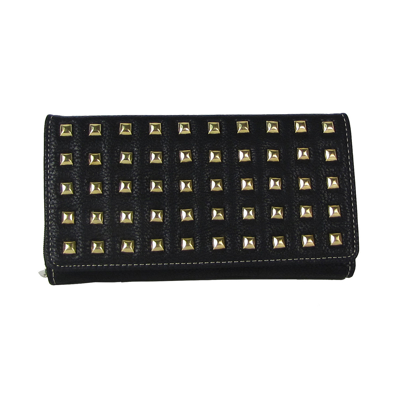 BLACK STUDDED LEATHERETTE LOOK CHECKBOOK WALLET CB1-1209BLK