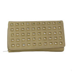 BEIGE STUDDED LEATHERETTE LOOK CHECKBOOK WALLET CB1-1209BEI