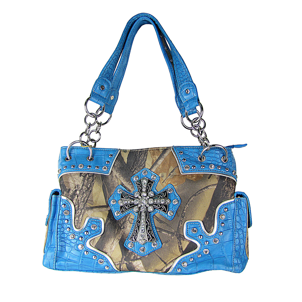 BLUE WESTERN MOSSY CAMO CROSS CONCEALED CARRY LOOK SHOULDER HANDBAG HB1-HC393-1BLU