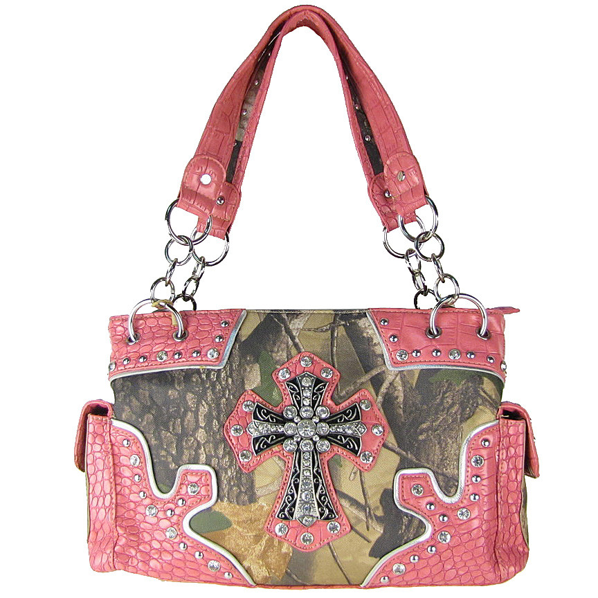 PINK WESTERN MOSSY CAMO CROSS CONCEALED CARRY LOOK SHOULDER HANDBAG HB1-HC393-1PNK