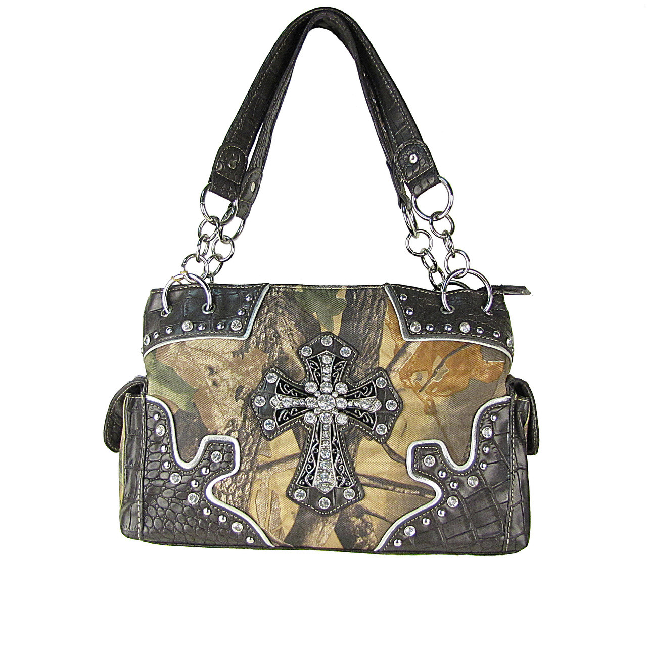 BROWN WESTERN MOSSY CAMO CROSS CONCEALED CARRY LOOK SHOULDER HANDBAG HB1-HC393-1BRN