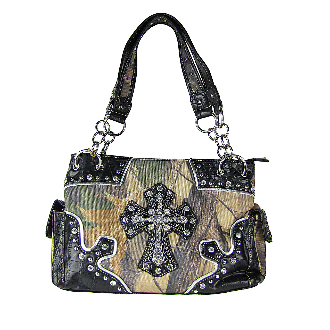BLACK WESTERN MOSSY CAMO CROSS CONCEALED CARRY LOOK SHOULDER HANDBAG HB1-HC393-1BLK