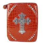 RED CROCODILE STUDDED RHINESTONE CROSS LOOK BIBLE COVER BL1-4405RED