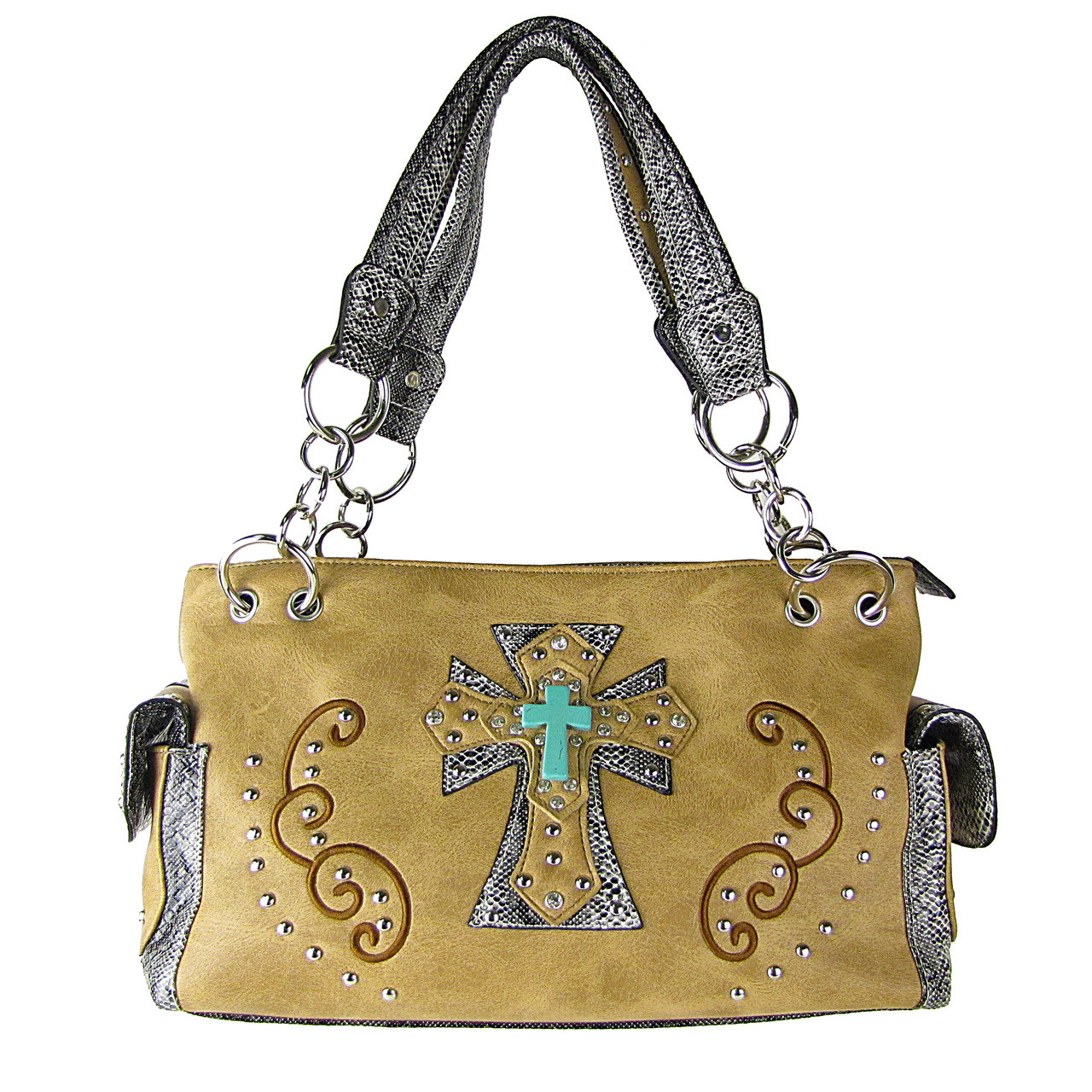 TAN REPTILE STUDDED RHINESTONE BLUE STONE CROSS LOOK SHOULDER HANDBAG HB1-W3CCRTAN