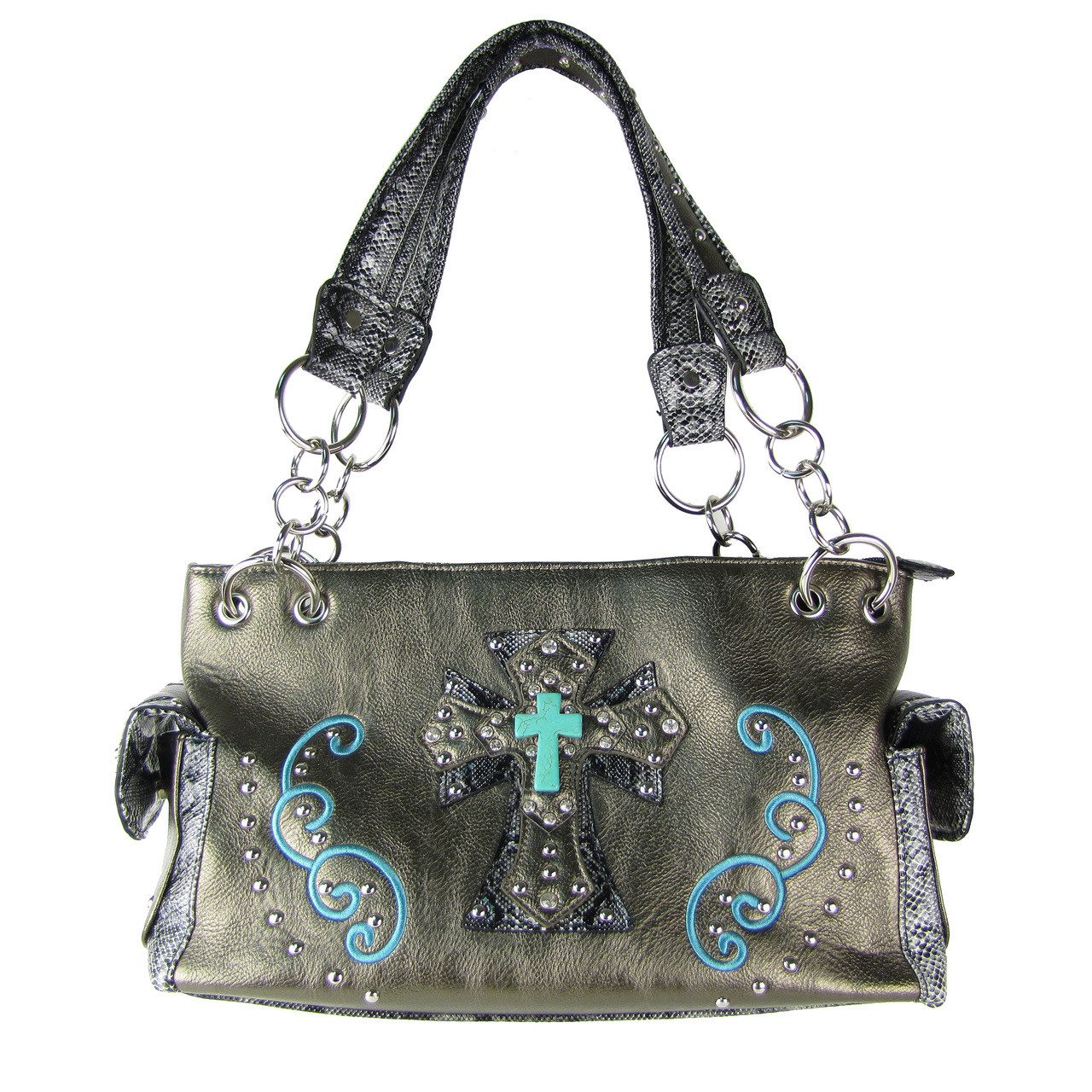 PEWTER REPTILE STUDDED RHINESTONE BLUE STONE CROSS LOOK SHOULDER HANDBAG HB1-W3CCRPWT