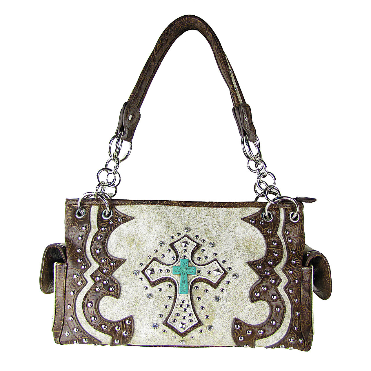 BEIGE WESTERN STUDDED RHINESTONE BLUE STONE CROSS LOOK SHOULDER HANDBAG HB1-W6CCRBEI