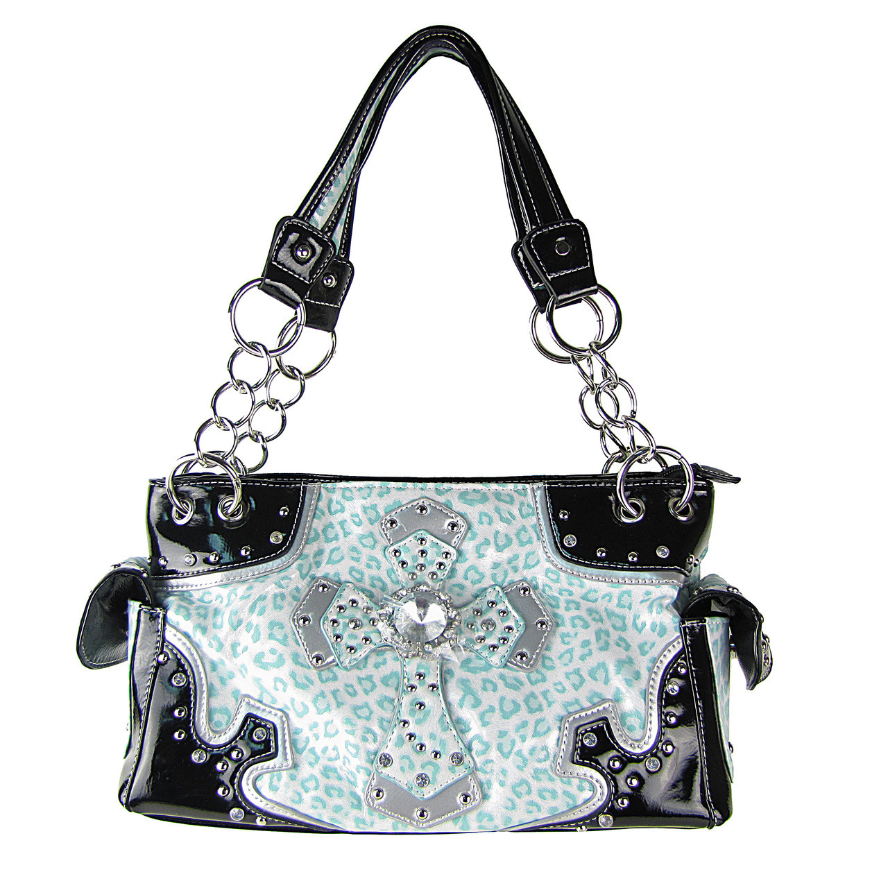 TURQUOISE LEAPORD STUDDED RHINESTONE CROSS LOOK SHOULDER HANDBAG HB1-69CCRTRQ