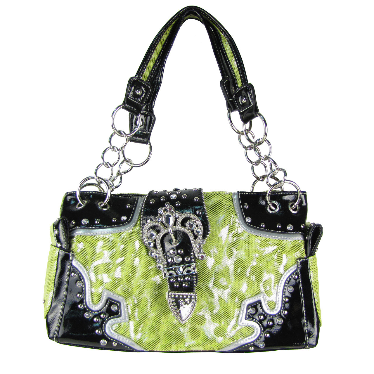 GREEN LEAPORD RHINESTONE BUCKLE SHOULDER HANDBAG HB1-BHW14GRN