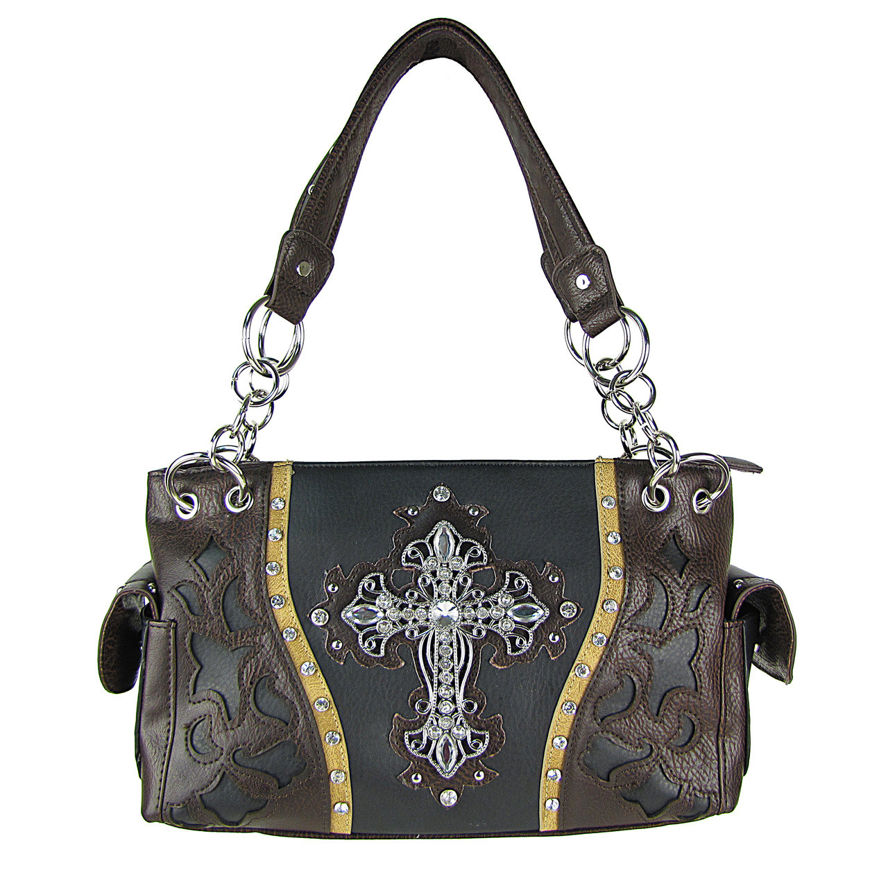 BLACK WESTERN RHINESTONE CROSS LOOK SHOULDER HANDBAG HB1-43LCRBLK