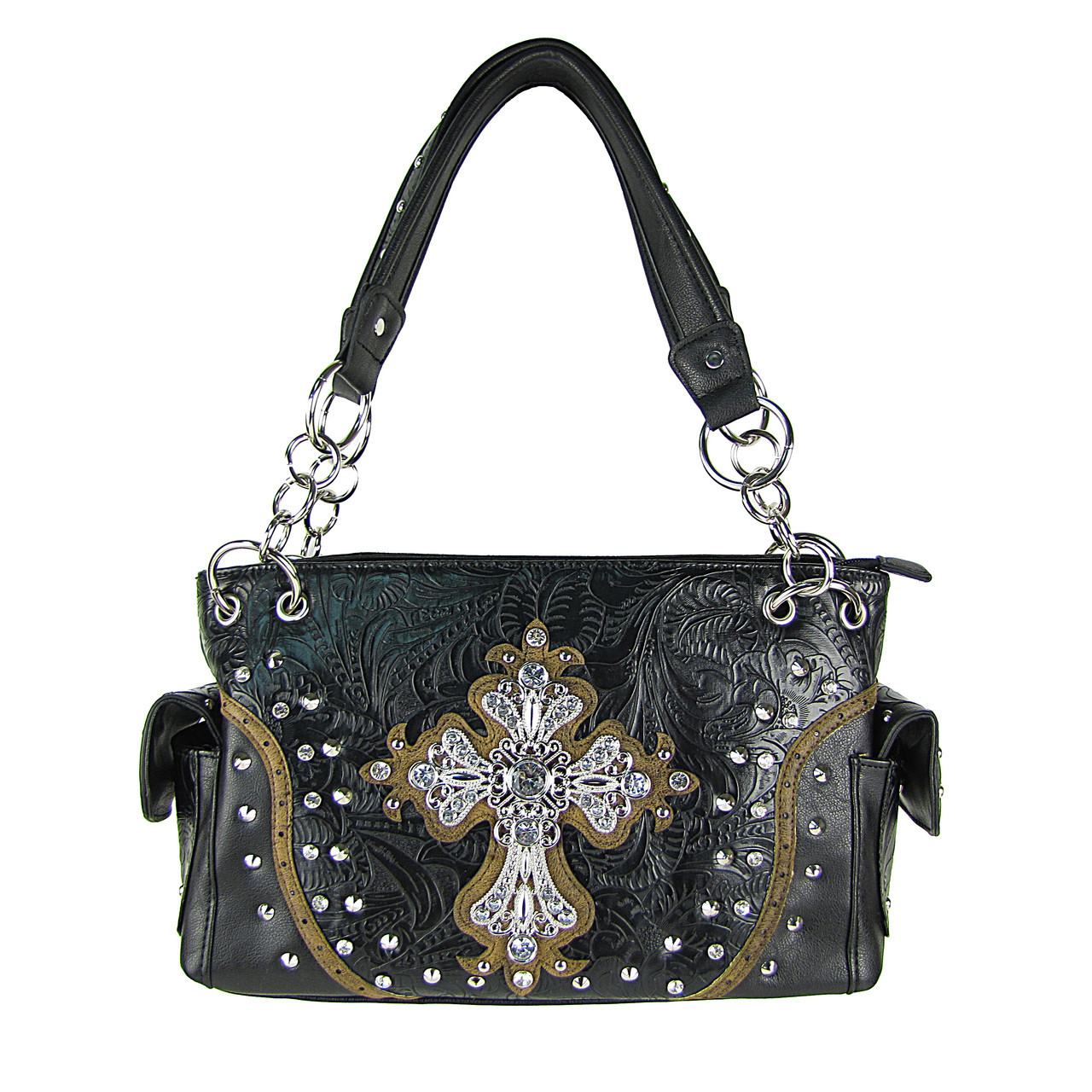 BLACK STUDDED RHINESTONE CROSS TOOLING LOOK SHOULDER HANDBAG HB1-35LCR-1BLK