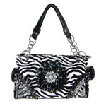 BLACK ZEBRA RHINESTONE FLOWER SHOULDER HANDBAG HB1-W32FZBLK