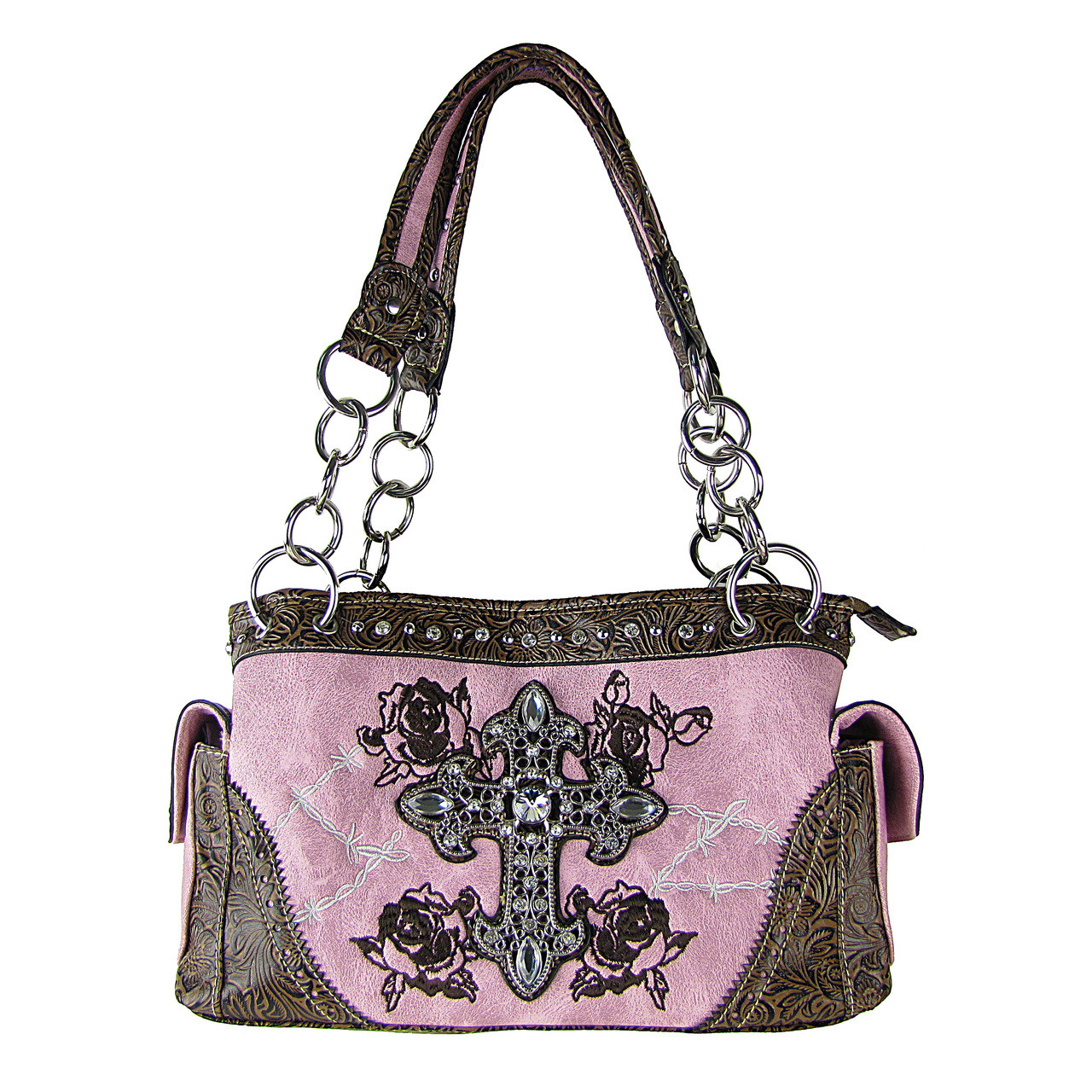 LIGHT PINK WESTERN CROSSES LOOK SHOULDER HANDBAG HB1-CHF0016LPK