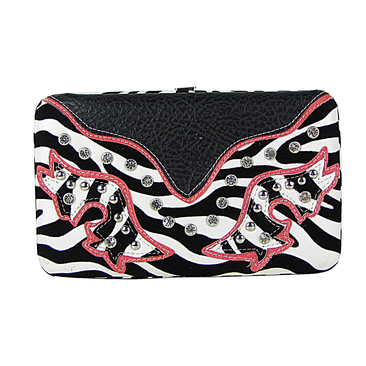 HOT PINK ZEBRA STUDDED RHINESTONE LOOK FLAT THICK WALLET FW2-12105HPK