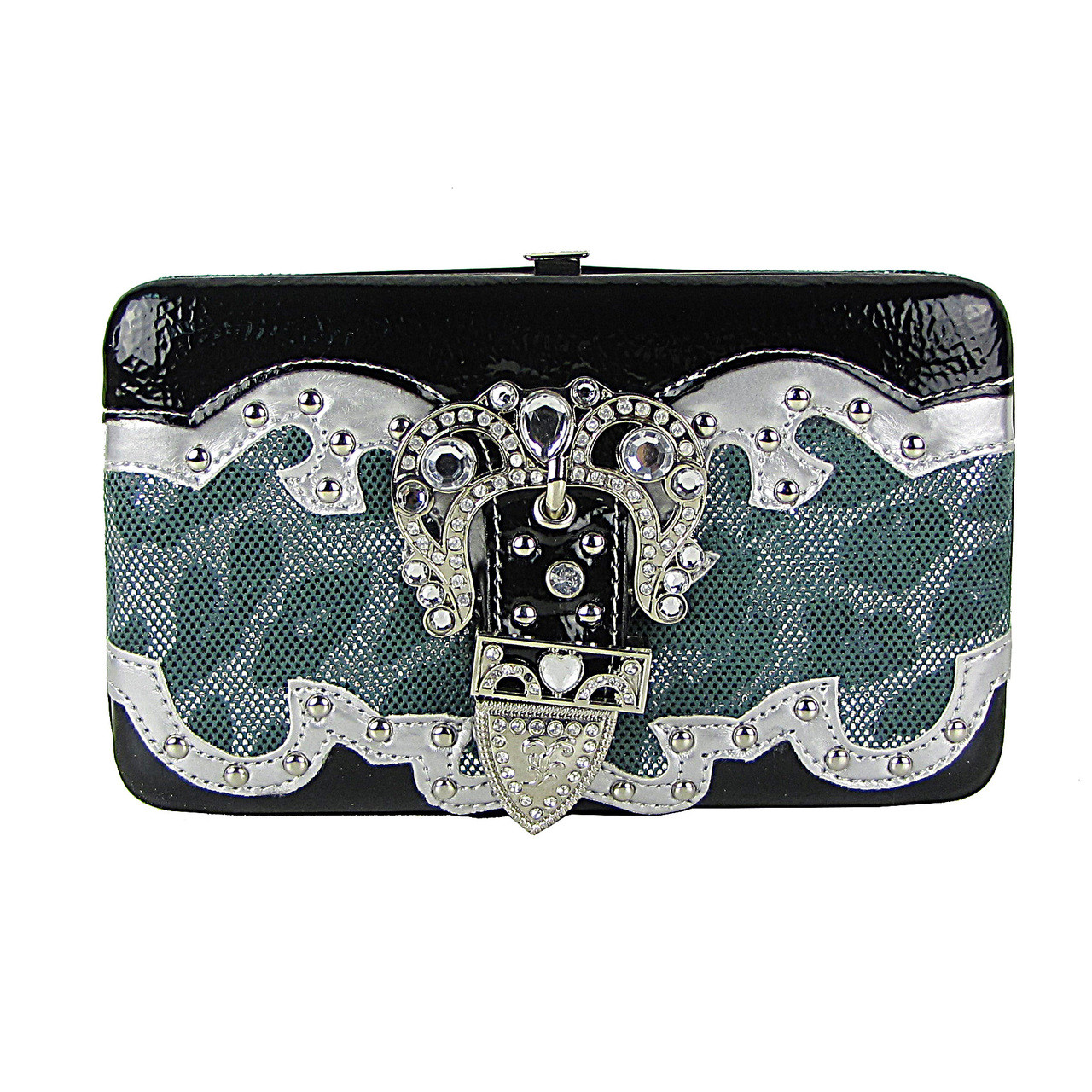 TURQUOISE LEAPORD METALLIC STUDDED RHINESTONE BUCKLE LOOK FLAT THICK WALLET FW2-12103TRQ