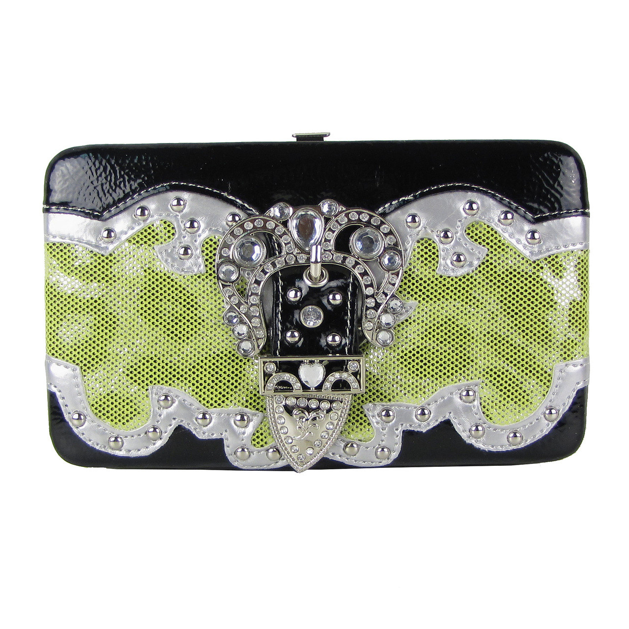 GREEN LEAPORD METALLIC STUDDED RHINESTONE BUCKLE LOOK FLAT THICK WALLET FW2-12103GRN