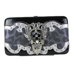 BLACK LEOPARD METALLIC STUDDED RHINESTONE BUCKLE LOOK FLAT THICK WALLET FW2-12103BLK