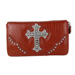 RED RHINESTONE CROSS  LEATHERETTE LOOK CHECKBOOK WALLET CB1-0414RED