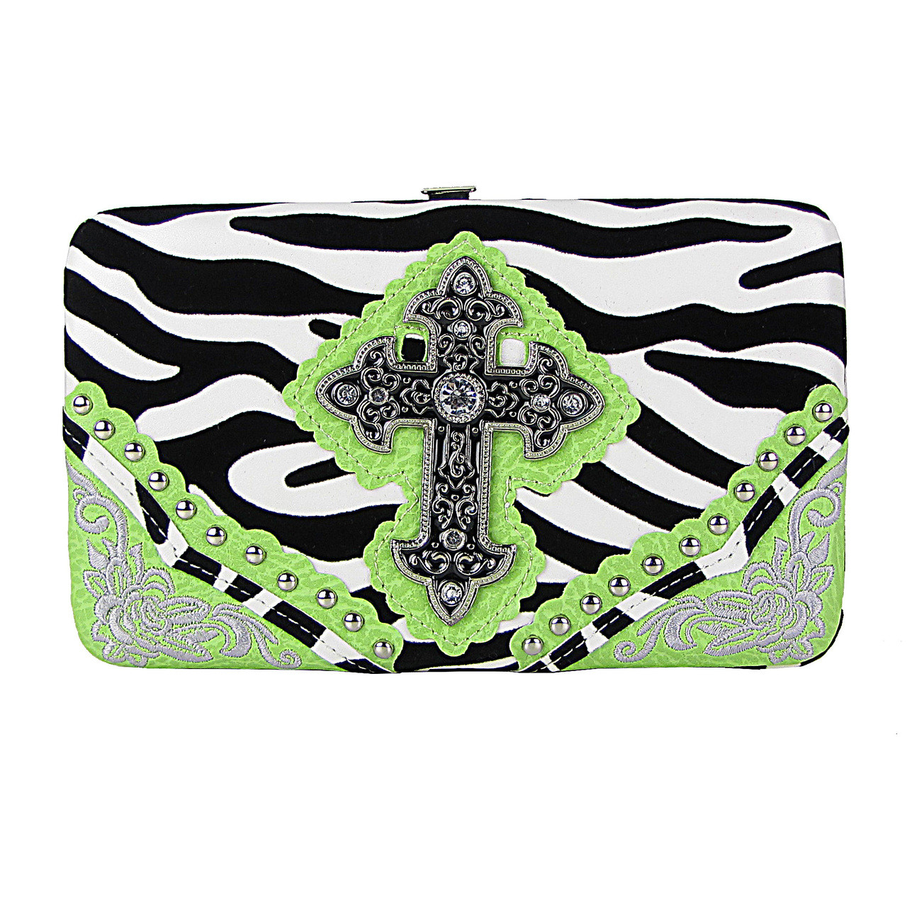 GREEN ZEBRA STITCHED CROSS FLAT THICK WALLET FW2-0472GRN